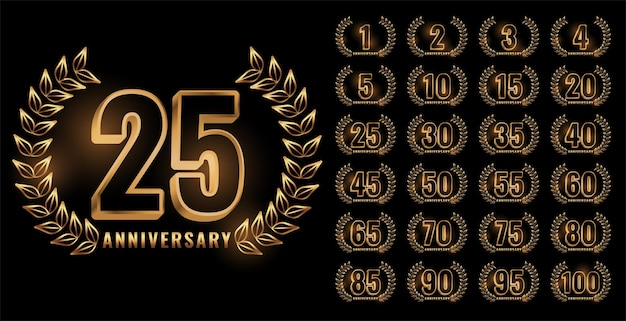 Set of anniversary labels in golden color Free Vector