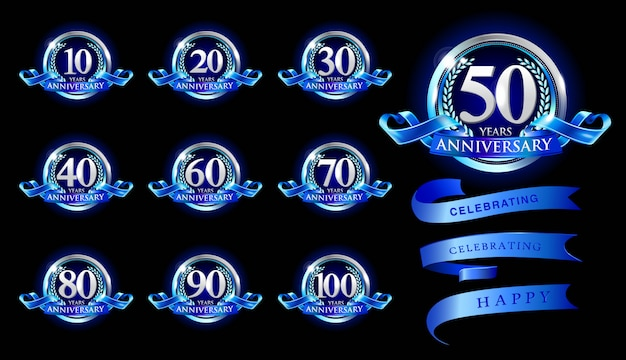 Set of anniversary logotype and blue ribbon. blue anniversary celebration emblem design Premium Vector