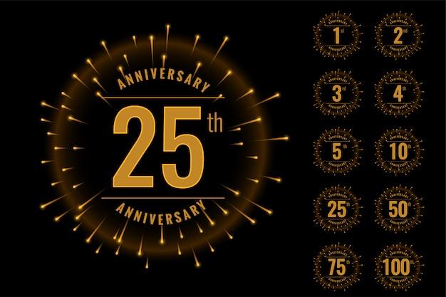 Set of anniversary logotype emblem set Free Vector