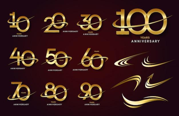 Set of anniversary logotype and gold ribbon. golden anniversary celebration emblem design Premium Vector