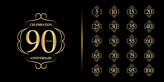 Set of anniversary logotype. golden anniversary celebration . Premium Vector
