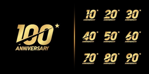 Set of anniversary logotype. golden anniversary celebration . Premium Vector