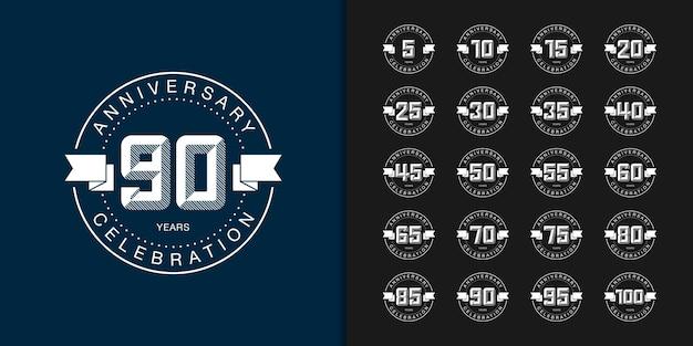 Set of anniversary logotype. modern anniversary celebration . Premium Vector