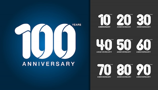Set of anniversary logotype. Premium Vector
