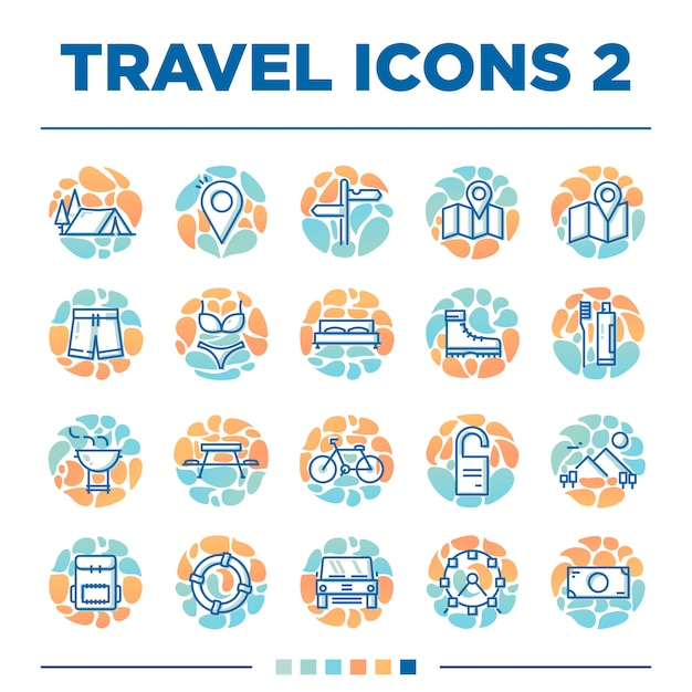 Set of another 20 travel icons with unique style Premium Vector