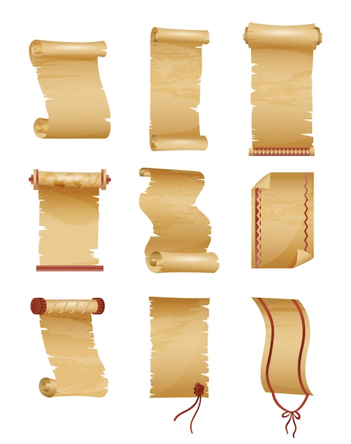 Set of antique or old paper roll. Premium Vector