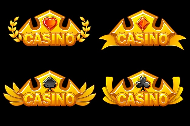 Set of app icons of golden crowns with game cards Free Vector