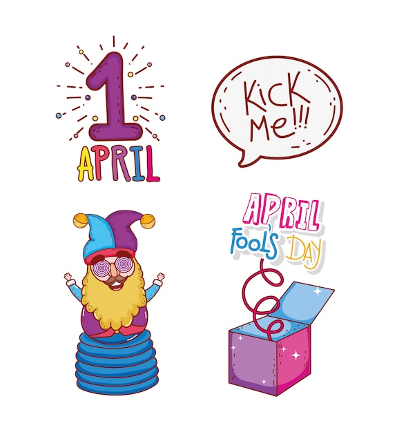 Set april first with jester and box to fools day Premium Vector