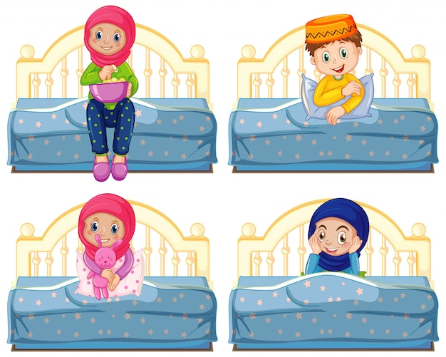 Set of arab muslim kids in traditional clothing sitting on a bed isolated Free Vector