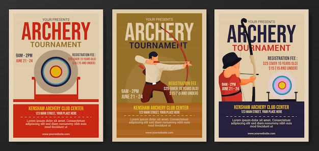 Set of archery tournament flyer template Premium Vector
