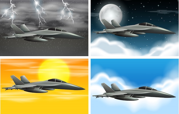 Set of army plane on different weather Free Vector