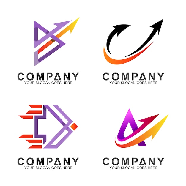 Set of arrow business logo template Premium Vector