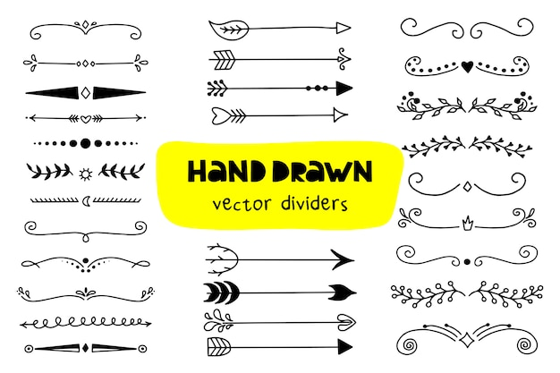 Set of arrows icon and dividers Premium Vector