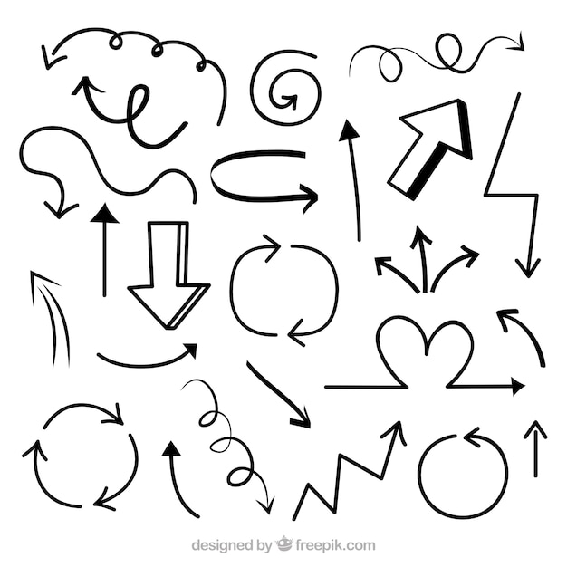 Set of arrows to mark in hand drawn style Free Vector