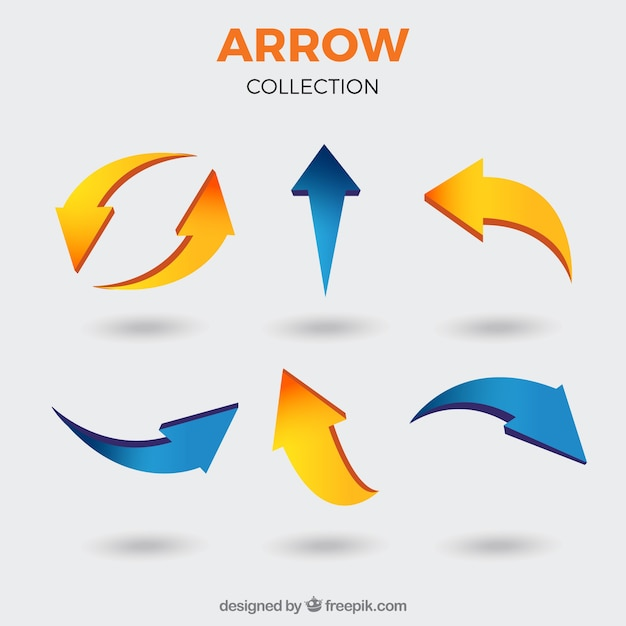 Set of arrows to mark in realistic style Free Vector