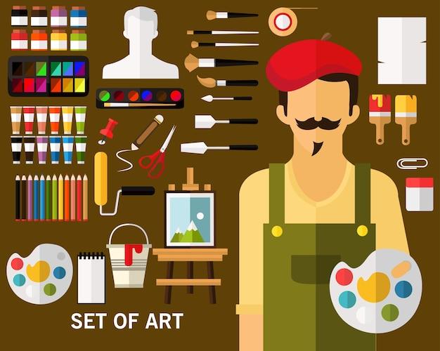 Set of art concept background Premium Vector