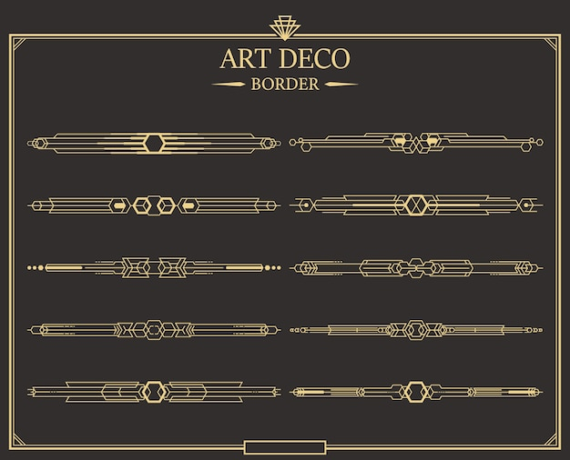 Set of art deco gold calligraphic page dividers. Premium Vector