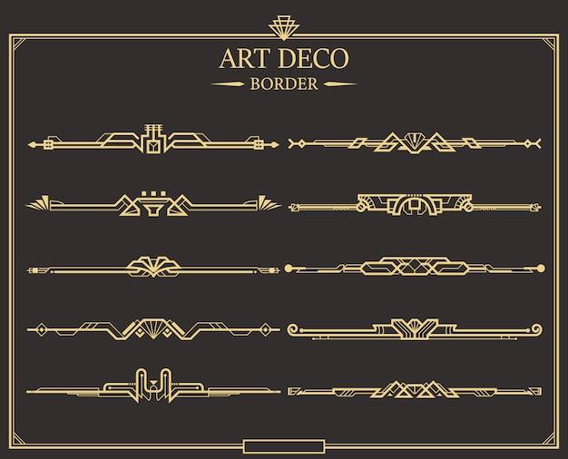 Set of art deco gold calligraphic page dividers Premium Vector