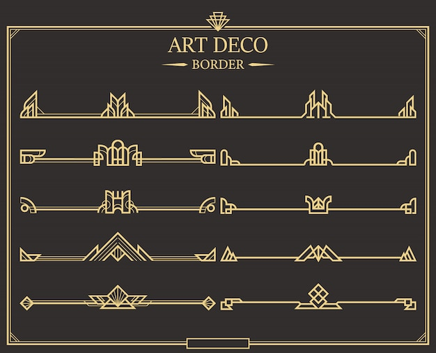 Set of art deco gold calligraphic page dividers. Premium Vector
