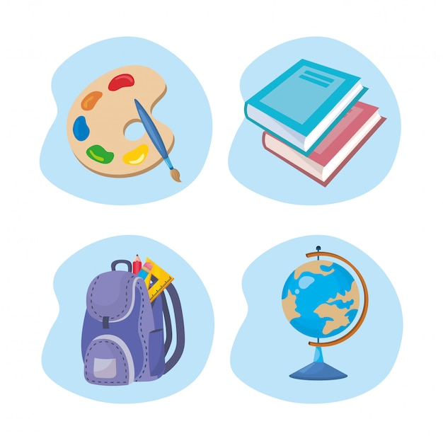 Set of art palette with books and backpack with global map Free Vector