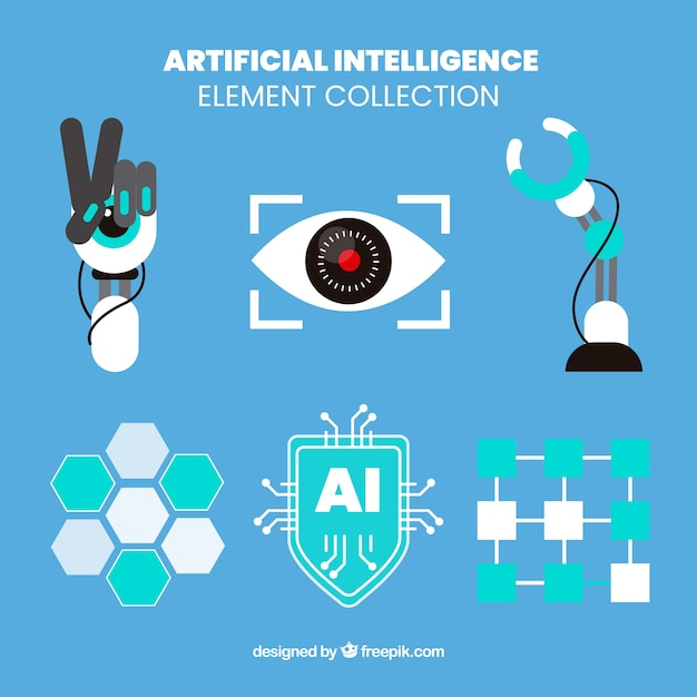 Set of artificial intelligence elements in flat design Free Vector