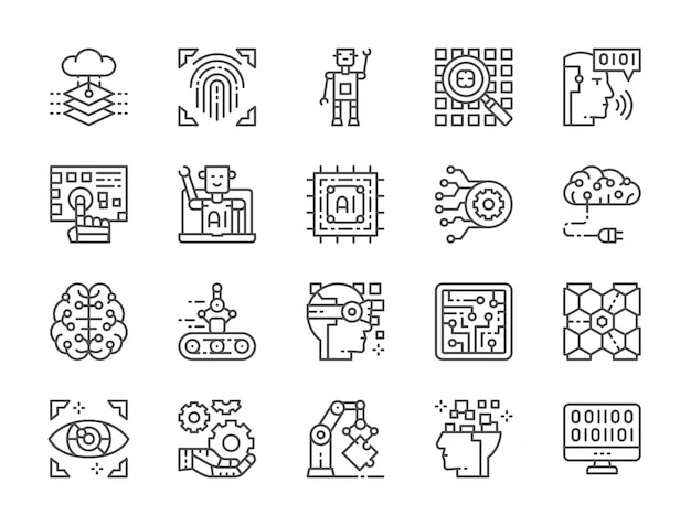Set of artificial intelligence line icons Premium Vector