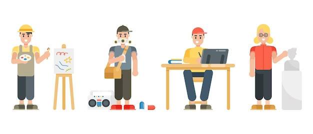 Set of artist characters. painter, graffiti, graphic designer, sculptor. modern cartoon man and woman characters in flat style. Premium Vector