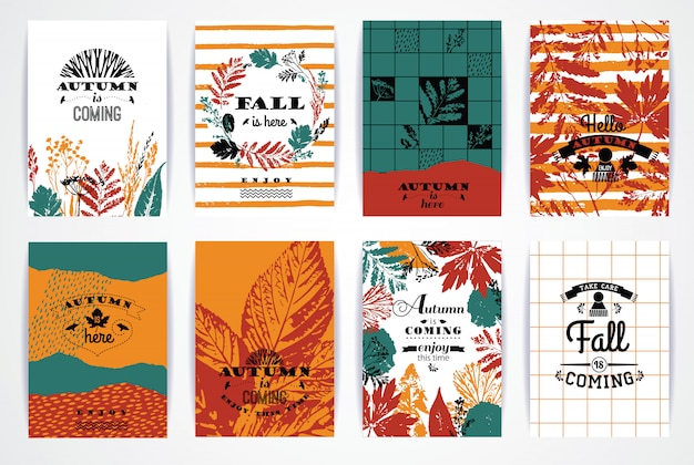 Set of artistic creative autumn cards. Premium Vector