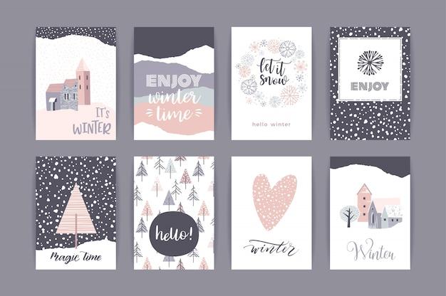 Set of artistic creative winter cards. Premium Vector