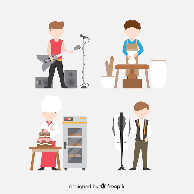 Set of artists from different disciplines. guitarist, craftsman, chef and fashion designer Free Vector