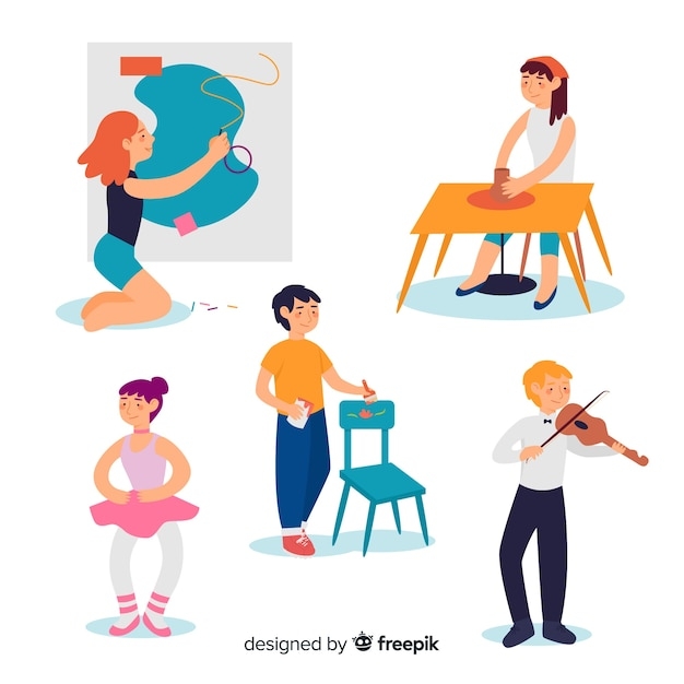 Set of artists at work Free Vector