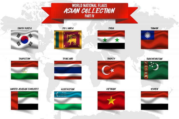 Set of asian country national flag on world map background. Premium Vector