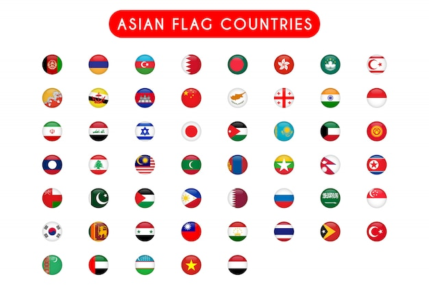 Set of asian flag countries round Premium Vector