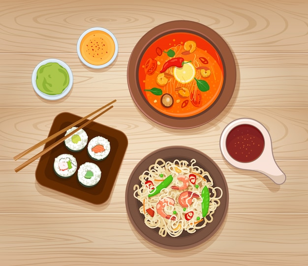 Set of asian food. noodles with shrimp and vegetables, spicy soup, sushi and various sauces. vector illustration Premium Vector