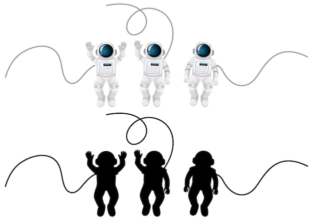Set of astronaut characters and its silhouette on white Free Vector