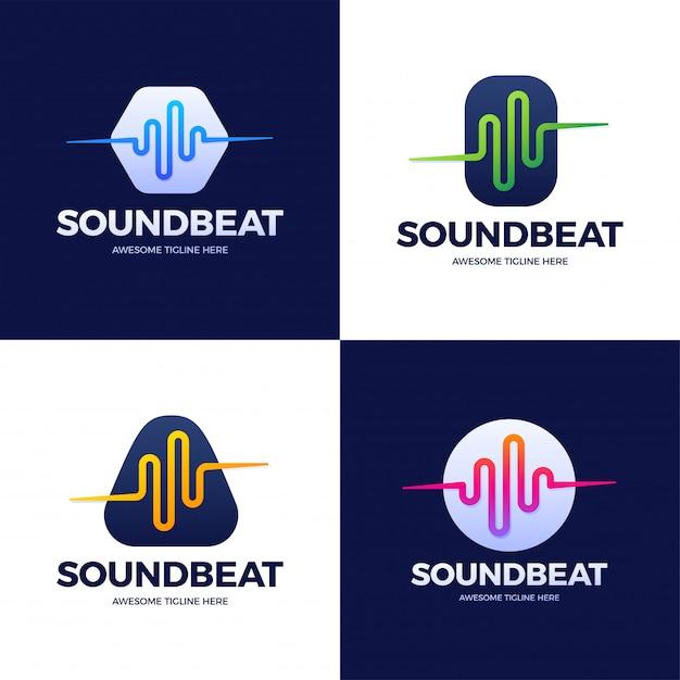 Set audio sound wave logo template stock   design. line abstract music technology logotype. digital element emblem, graphic signal waveform, curve, volume and equalizer.   illustration. Premium Vector