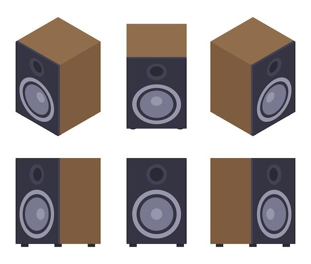 Set of the audio speakers Premium Vector