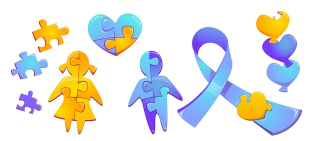 Set autism world day awareness colorful puzzle pieces child girl and boy silhouette heart figure and blue ribbon isolated on white wall international solidarity cartoon symbols  icons Free Vector