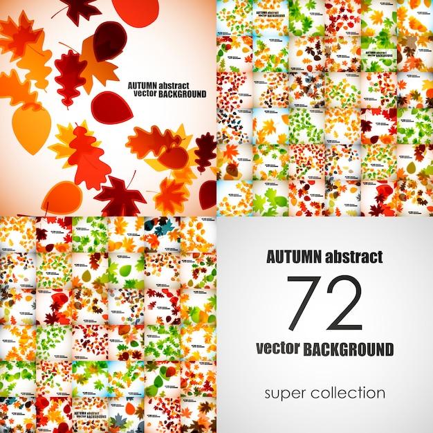 Set of autumn backgrounds Premium Vector