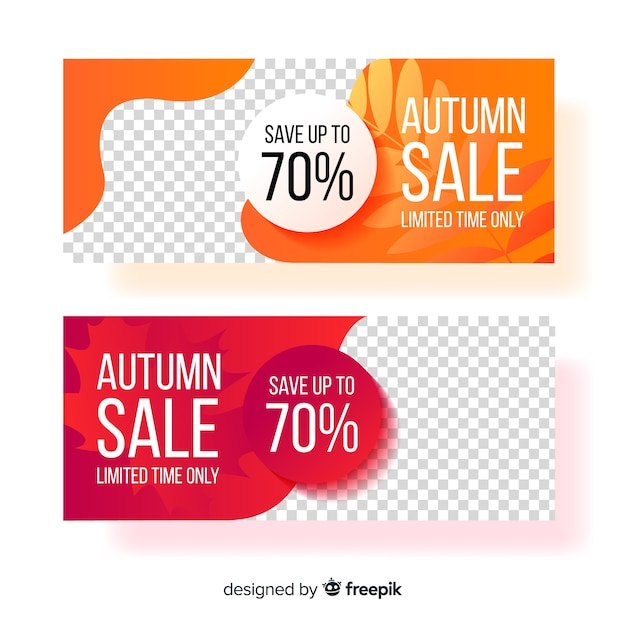 Set of autumn banner flat style Free Vector