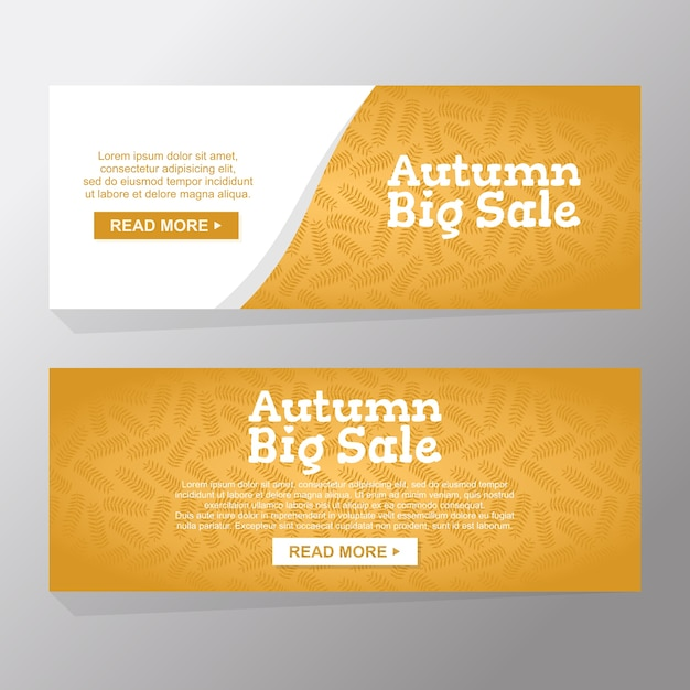 Set of autumn big sale banners Premium Vector