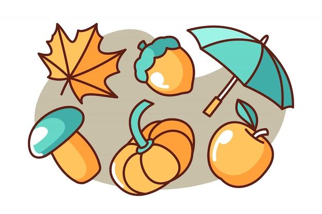 Set of autumn cartoon illustration Premium Vector