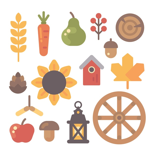 Set of autumn flat icons on white background Premium Vector