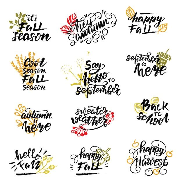 Set Of Autumn Lettering Phrases Vector Illustration Premium Vector