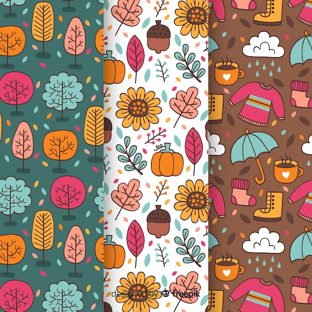 Set of autumn patterns hand drawn style Free Vector