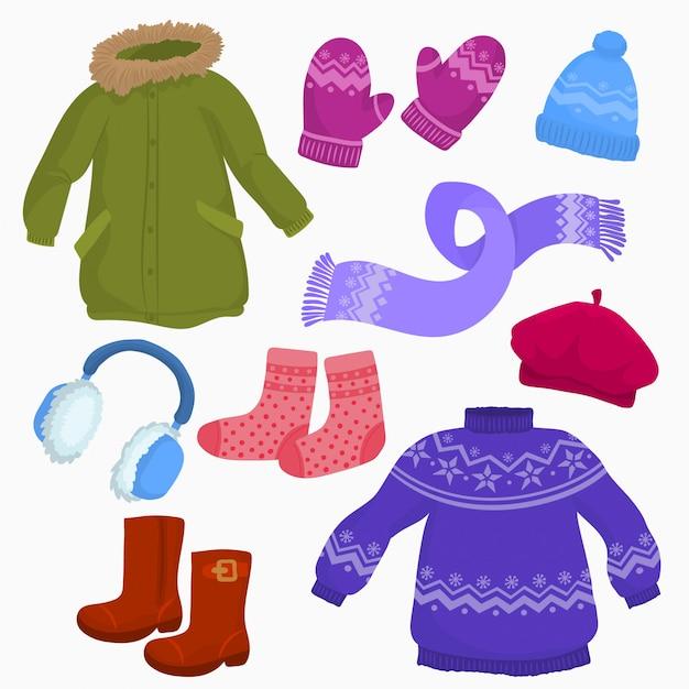 Set of autumn-winter clothes. Premium Vector