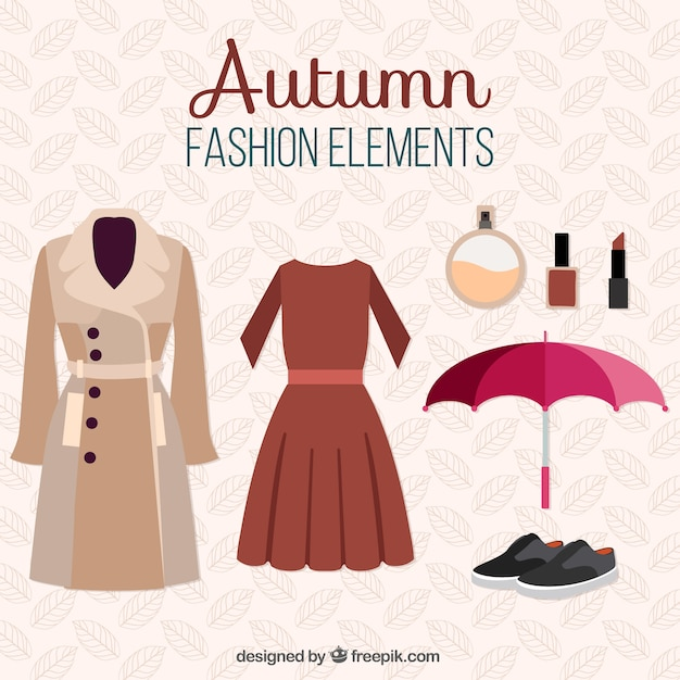 Set of autumnal clothes and items Free Vector