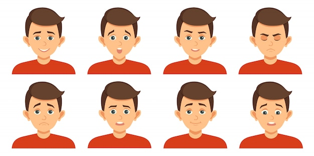 Set of avatars with child facial expressions Premium Vector