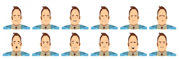 Set of avatars with male emotions including joy doubt Free Vector