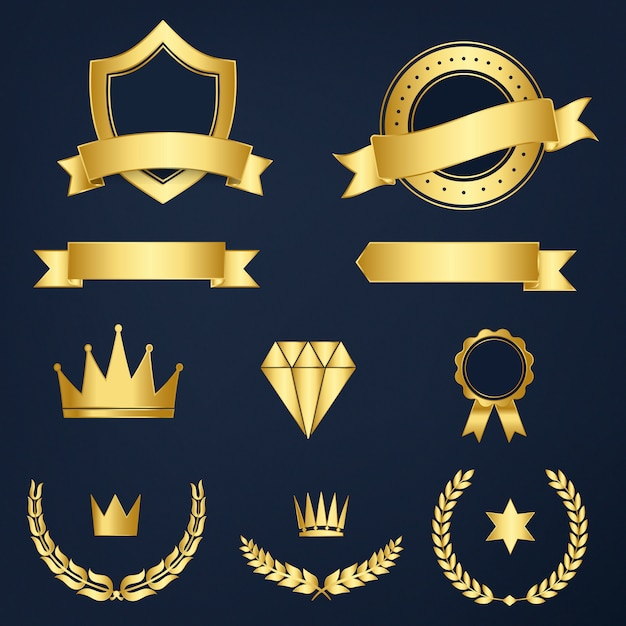 Set of awards and badges vector Free Vector